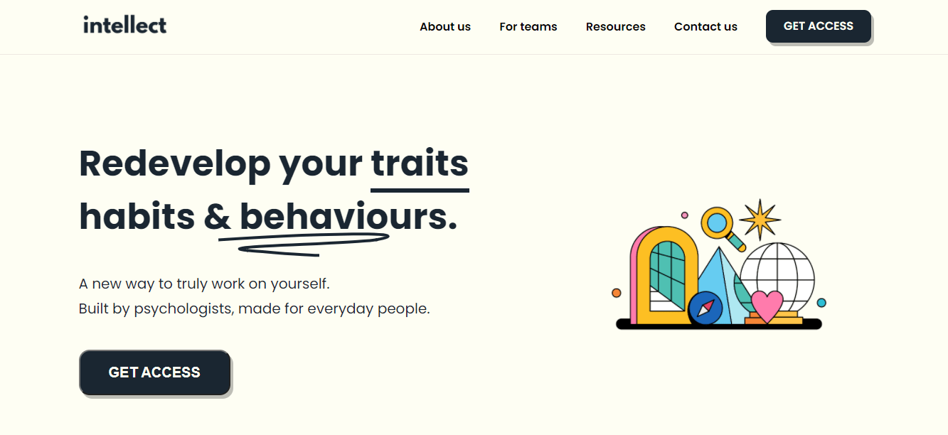 Intellect's landing page