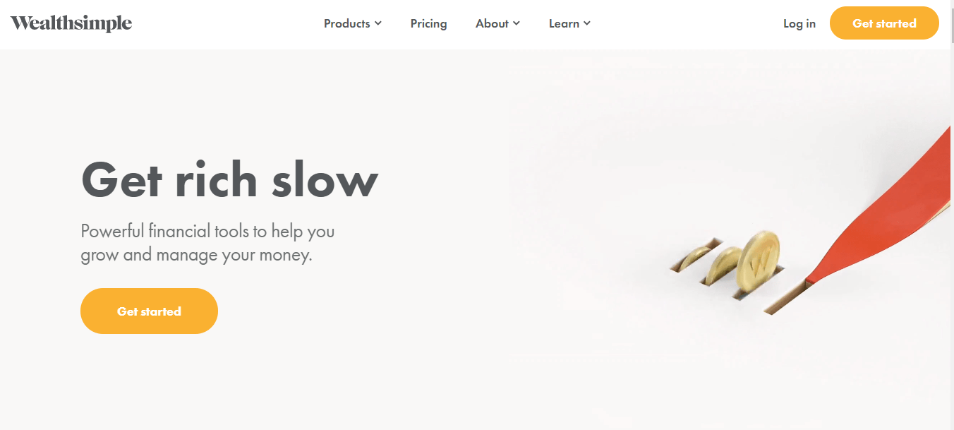 Wealth Simple's landing page